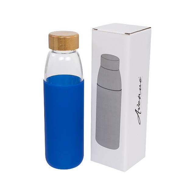Skleněná sportovní láhev Kai 540 ml s dřevěným uzávěrem - modrá