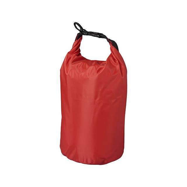Nepromokavý vak Camper, 10 l, outdoorový styl - transparentní červená