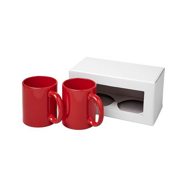 Dárková sada dvou hrnků Ceramic - transparentní červená