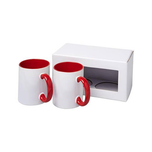 Dárková sada dvou sublimačních hrnků Ceramic - transparentní červená
