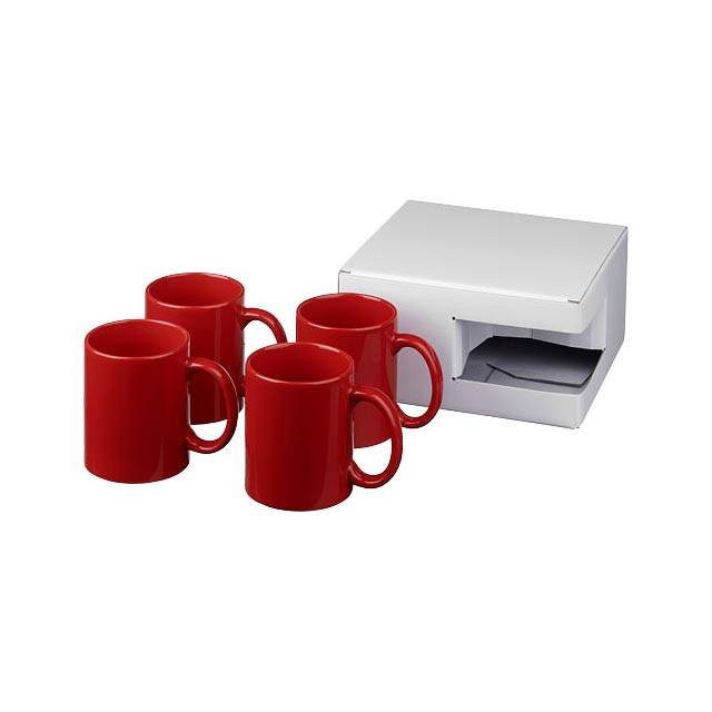 Dárková sada čtyř hrnků Ceramic - transparentní červená