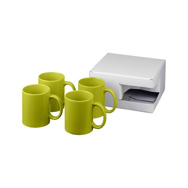Dárková sada čtyř hrnků Ceramic - citrónová - limetková