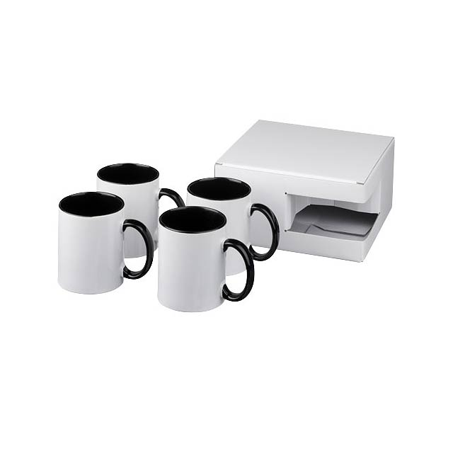 Dárková sada čtyř sublimačních hrnků Ceramic - černá