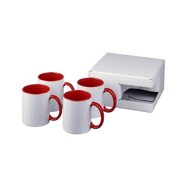 Dárková sada čtyř sublimačních hrnků Ceramic - transparentní červená