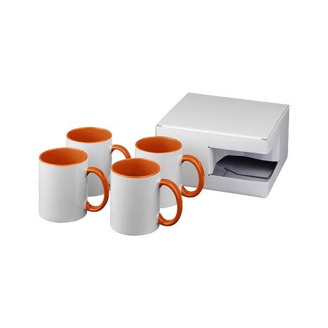 Dárková sada čtyř sublimačních hrnků Ceramic - oranžová