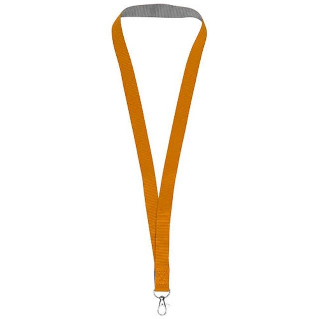 Dvoubarevný Lanyard Aru na suchý zip - oranžová