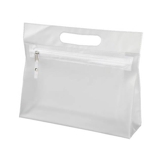 Toaletní taška Paulo z průhledného PVC - bílá