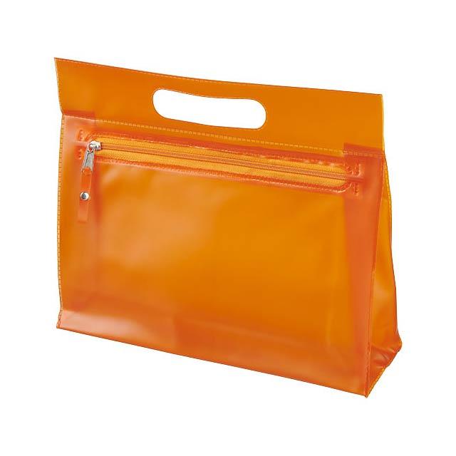 Toaletní taška Paulo z průhledného PVC - oranžová