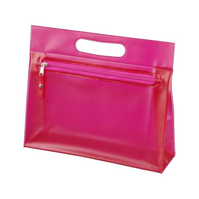 Toaletní taška Paulo z průhledného PVC - fuchsiová (tm. růžová)