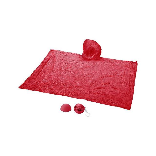 Pláštěnka Xina v úložném míči s klíčenkou - červená