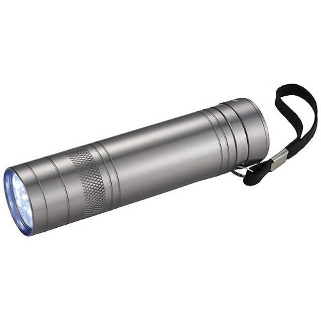 Svítilna Oppy s 9 LED a otvírákem lahví - stříbrná