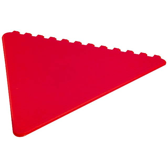Frosty triangular ice scraper - red
