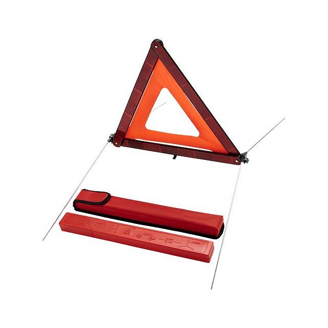 Výstražný trojúhelník v úložném pytlíku Carl - transparentní červená