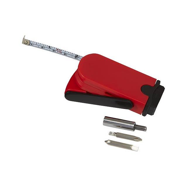 Multifunkční šroubovák a měřicí pásmo Bram - transparentní červená