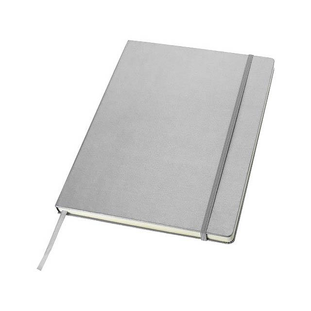 Poznámkový blok s pevnou obálkou A4 Executive - stříbrná