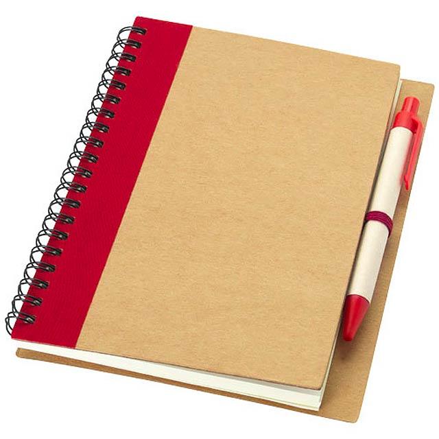 Zápisník s perem Priestly z recyklovaného papíru - červená