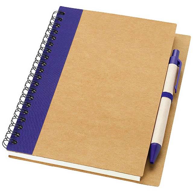 Zápisník s perem Priestly z recyklovaného papíru - modrá