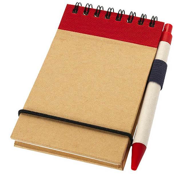 Zápisník A7 Zuse s perem z recyklovaného papíru - červená
