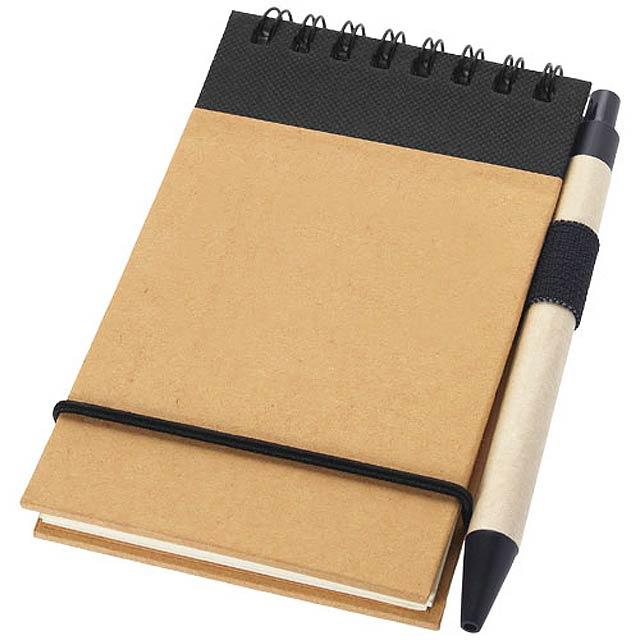 Zápisník A7 Zuse s perem z recyklovaného papíru - černá