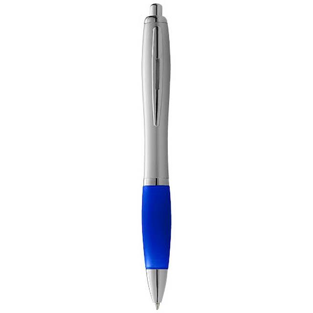 Stříbrné kuličkové pero Nash s barevným úchopem - modrá