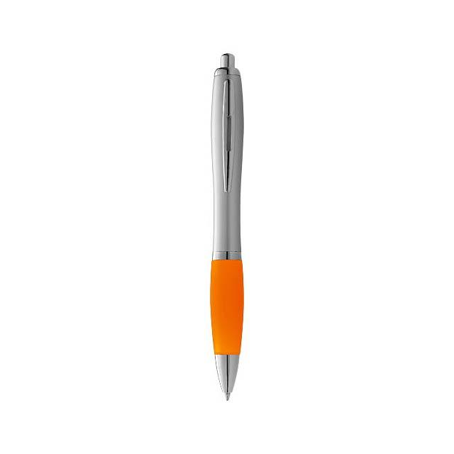 Stříbrné kuličkové pero Nash s barevným úchopem - stříbrná