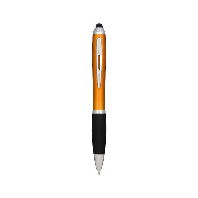 Barevné kuličkové pero a stylus Nash s černým úchopem - oranžová