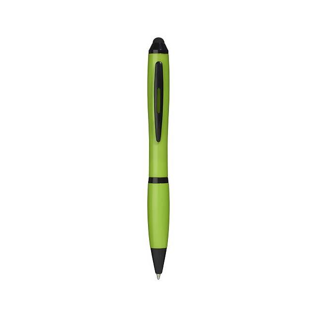 Kuličkové pero a stylus Nash s barevným úchopem - citrónová - limetková