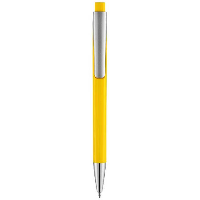 Kuličkové pero s čtvercovým tělem Pavo - žlutá