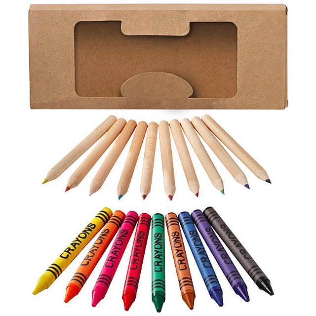 Sada barevných tužek a pastelek Lucky, 19 ks - béžová