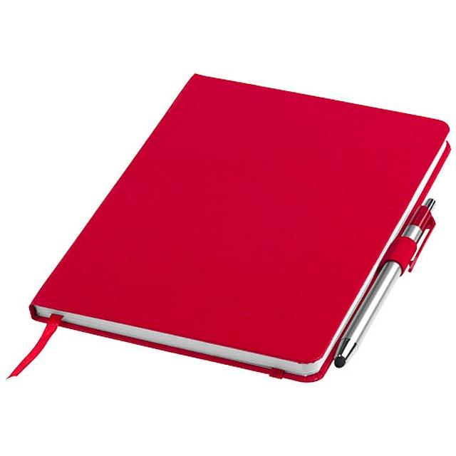 Zápisník A5 Crown a stylus s kuličkovým perem - červená