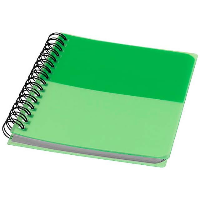 Barevný kroužkový zápisník A6 - zelená