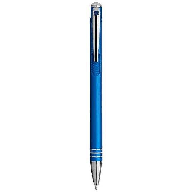 Kuličkové pero Izmir s vroubkovaným tlačítkem - modrá