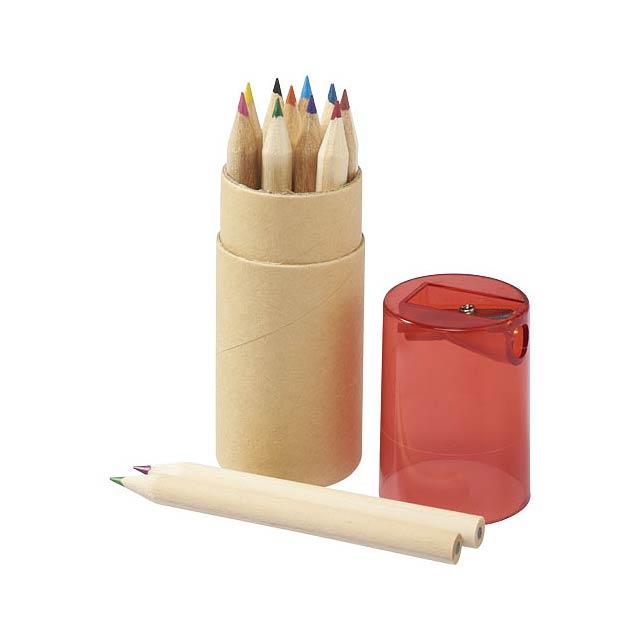 Sada 12 barevných tužek Hef s ořezávátkem - transparentní červená