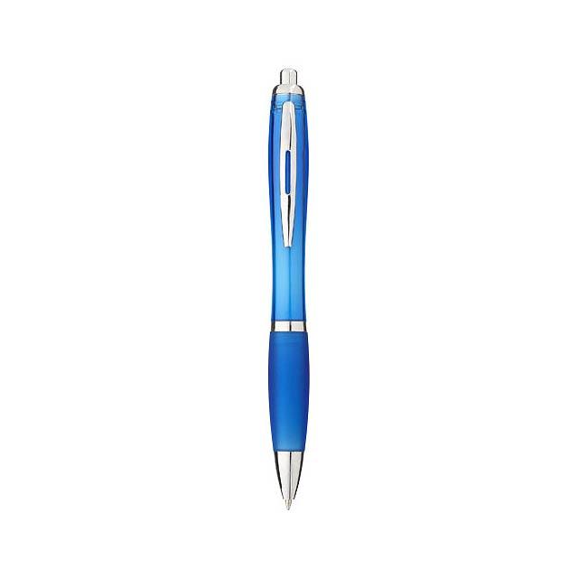 Kuličkové pero Nash s barevným tělem úchopem - nebesky modrá