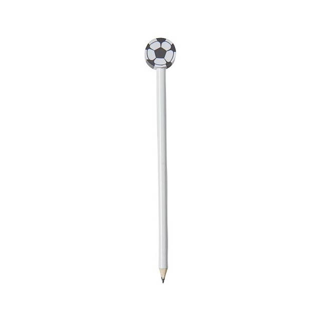Goal Bleistift mit Radierer in Fußballform - Weiß