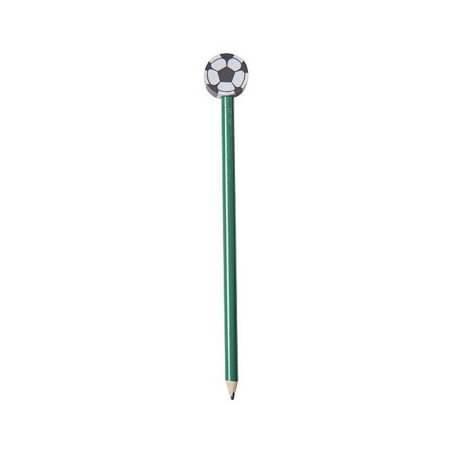 Goal Bleistift mit Radierer in Fußballform - Grün