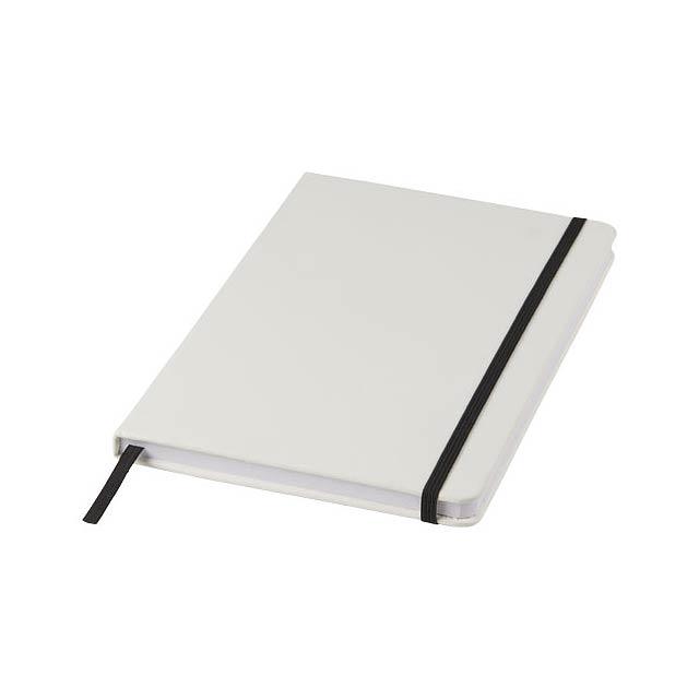 Bílý zápisník Spectrum A5 s barevnou páskou - bílá