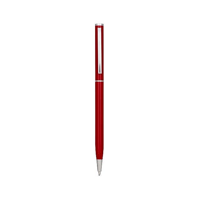 Hliníkové kuličkové pero Slim - transparentní červená