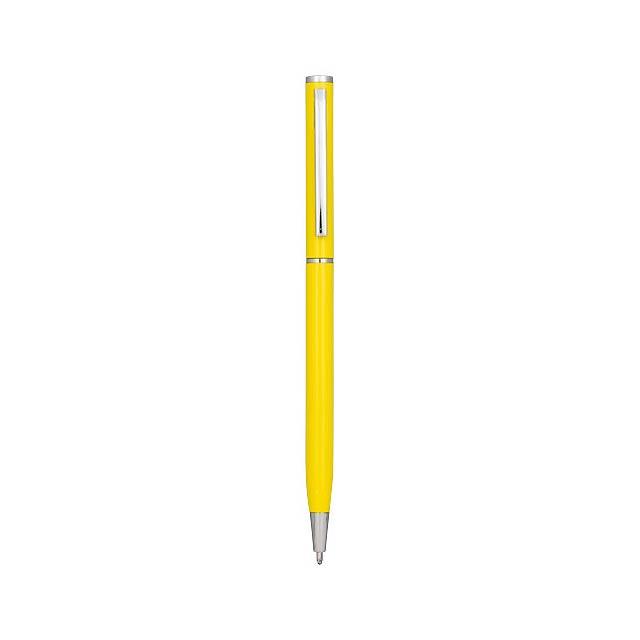 Hliníkové kuličkové pero Slim - žlutá