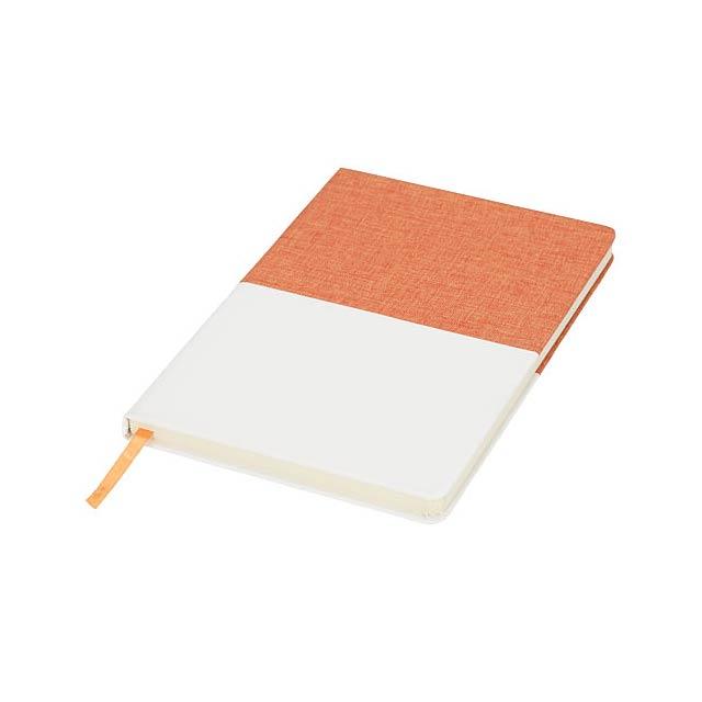 Dvoubarevný plátěný zápisník A5 - oranžová