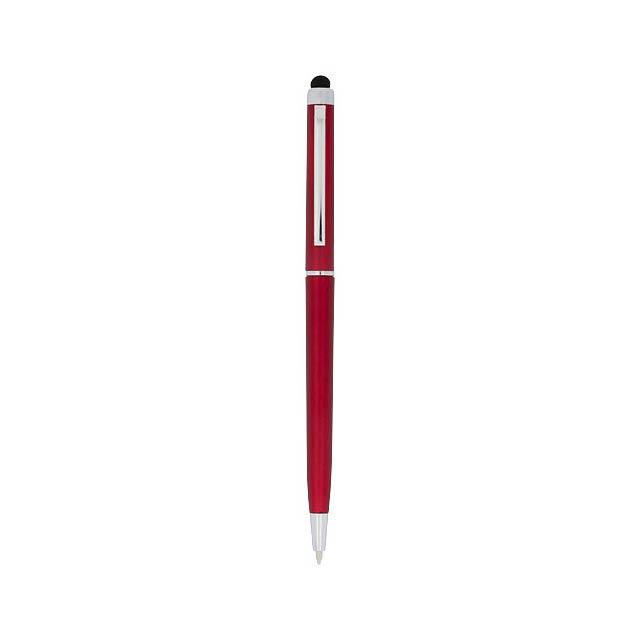 Kuličkové pero a stylus Valeria z ABS plastu - transparentní červená