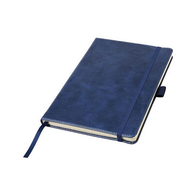 Poznámkový blok A5 Coda s pevnou obálkou s koženým vzhledem - modrá