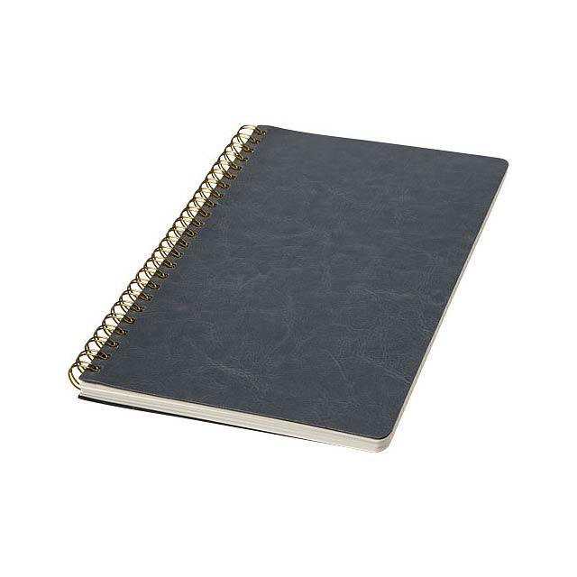Deník A5 s koženým vzhledem v kroužkové vazbě z materiálu cowhide thermo PU a zaoblenými rohy. Obálka poznámkového bloku (15 cm x 21 cm) obsahuje 96listů řádkovaného krémového papíru o hmotnosti 70 g/m2. - šedá - foto