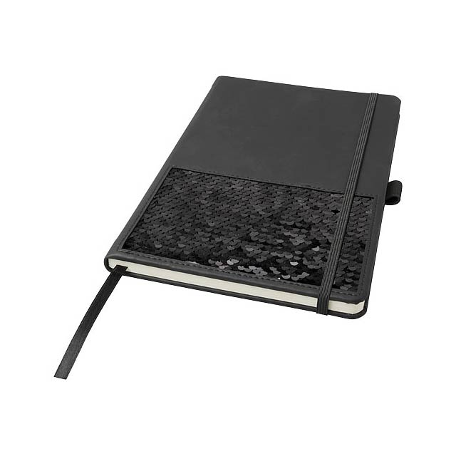 Poznámkový blok s otočným flitrem v černé a stříbrné, dodávaný v černém pouzdru Luxe. Specifikace: obálka (thermo PU): 15,6 cm x 21,2 cm, papír o hmotnosti 70 g/m2, 80 listů krémového papíru, řádkovaný formát, elastické zavírání, záložka a smyčka na pero. - černá - foto