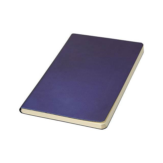 Poznámkový blok odráží celou řadu barev v závislosti na světle. Obálka poznámkového bloku (12,7 cm x 17,78 cm) je vyrobena z PU a obsahuje 80listů řádkovaného krémového papíru o hmotnosti 70 g/m2. - modrá - foto