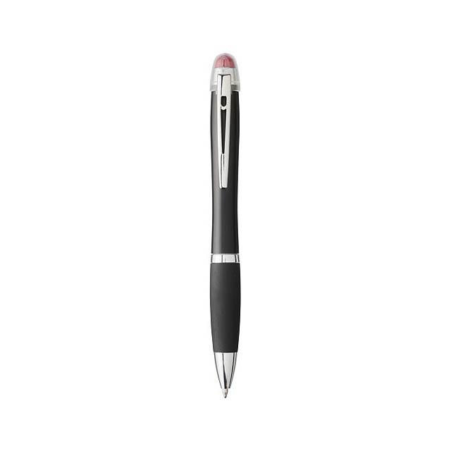 Nash svíticí kuličkové pero s černým tělem a úchopem - transparentní červená
