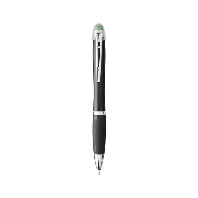 Nash svíticí kuličkové pero s černým tělem a úchopem - zelená