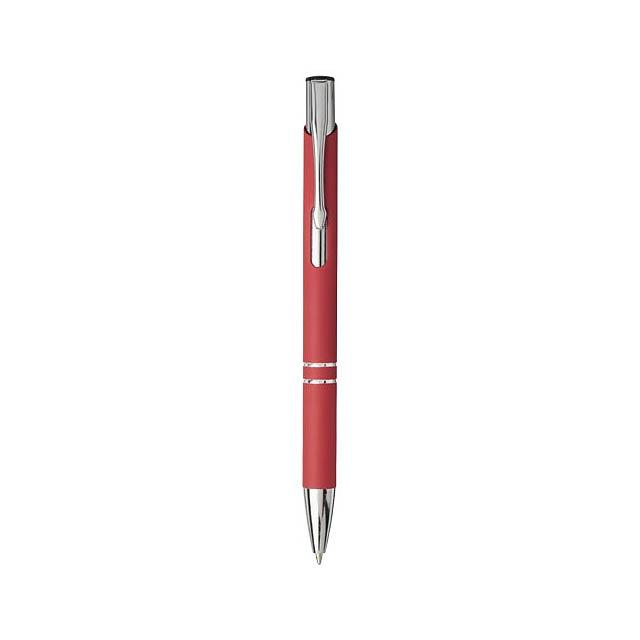 Moneta stiskací kuličkové pero s jemným úchopem - transparentní červená