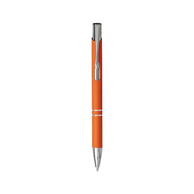 Moneta stiskací kuličkové pero s jemným úchopem - oranžová