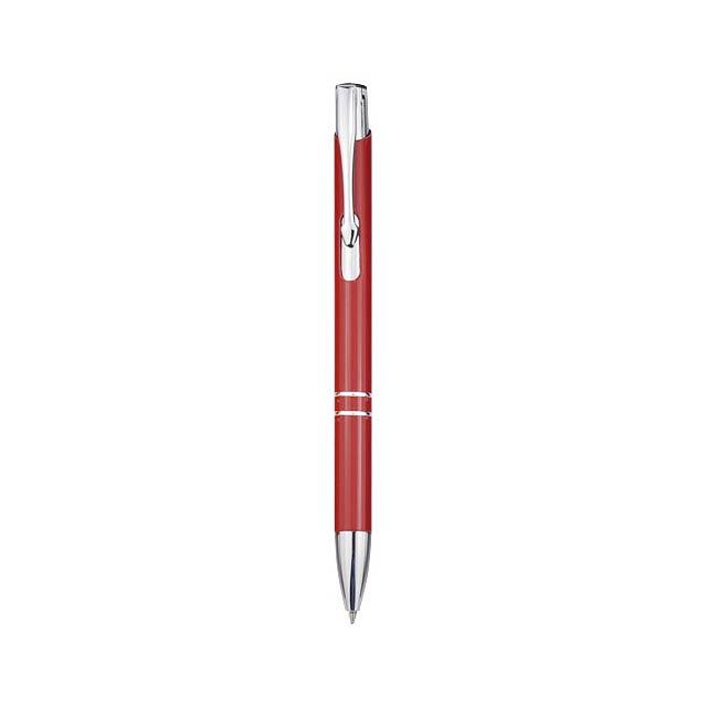 Moneta Druckkugelschreiber aus Aluminium - Transparente Rot